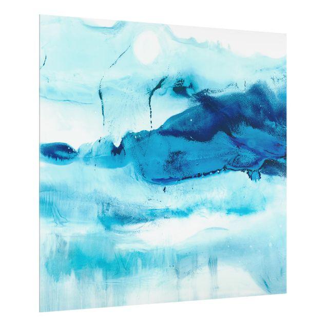 Glas Spritzschutz - Blaue Strömung I - Quadrat - 1:1