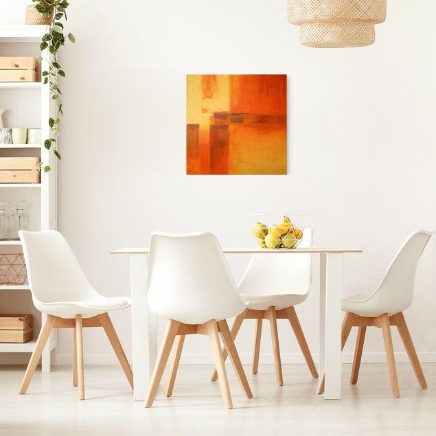 Leinwandbild Gold - Komposition in Orange und Braun 01 - Quadrat 1:1