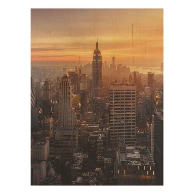 Holzbild - Manhattan Skyline Abendstimmung - Hochformat 4:3