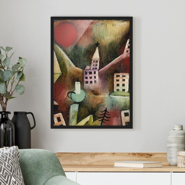Bild mit Rahmen - Paul Klee - Zerstörtes Dorf - Hochformat 3:4