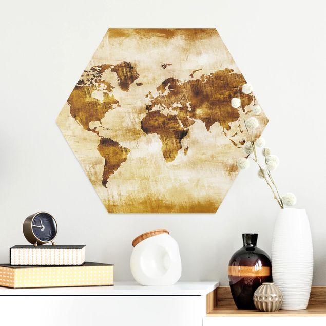 Hexagon Bild Alu-Dibond - No.CG75 Map of the World