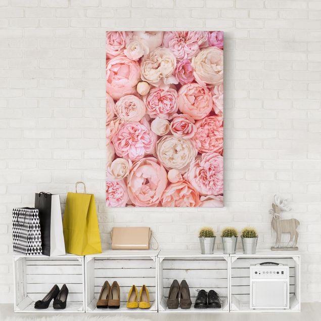 Leinwandbild - Rosen Rosé Koralle Shabby - Hochformat 3:2