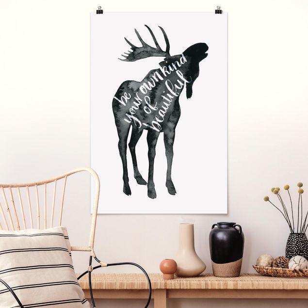 Poster - Tiere mit Weisheit - Elch - Hochformat 3:2