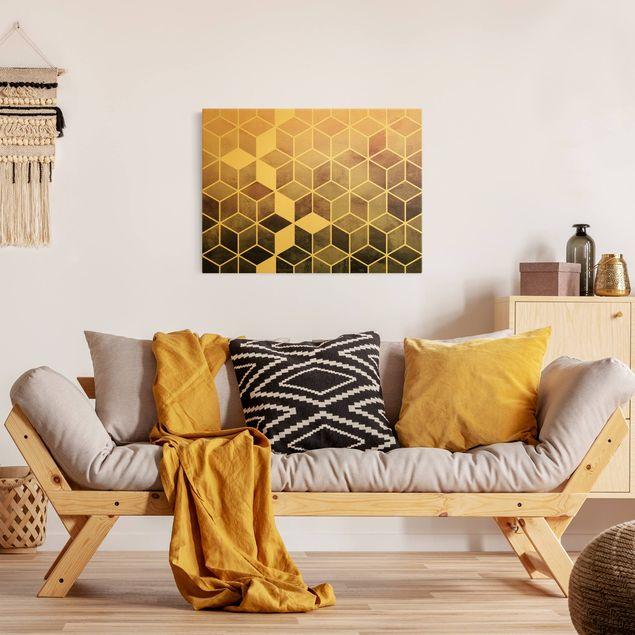 Leinwandbild Gold - Goldene Geometrie - Rosa Grau - Querformat 4:3