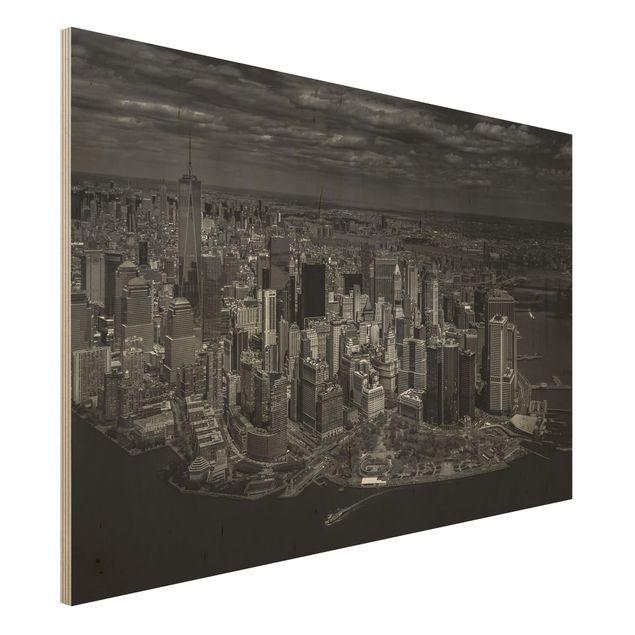 Holzbild - New York - Manhattan aus der Luft - Querformat 2:3