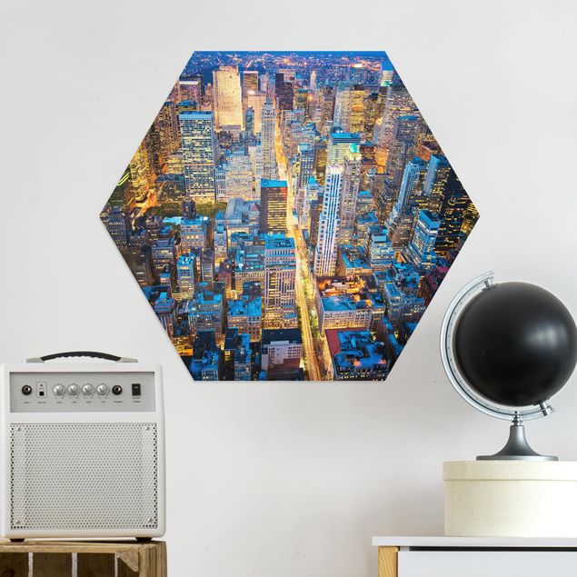Hexagon Bild Alu-Dibond - Midtown Manhattan