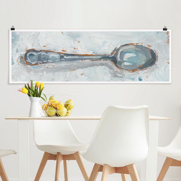 Poster - Impressionistisches Besteck - Löffel - Panorama Querformat