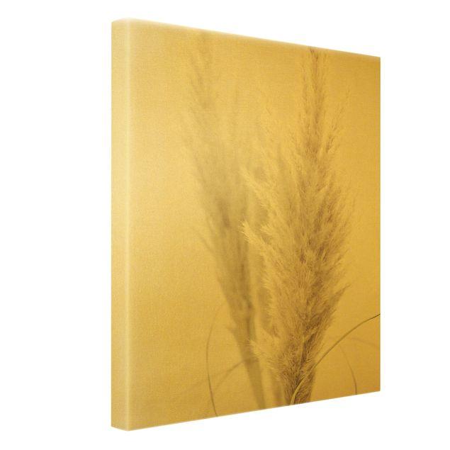 Leinwandbild Gold - Flauschiges Pampasgras - Hochformat 3:4