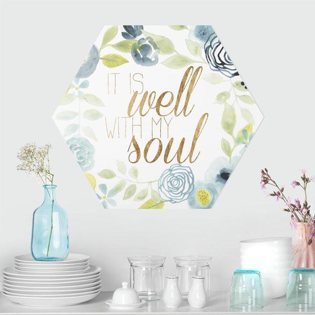 Hexagon Bild Forex - Blumenkranz mit Spruch - Soul