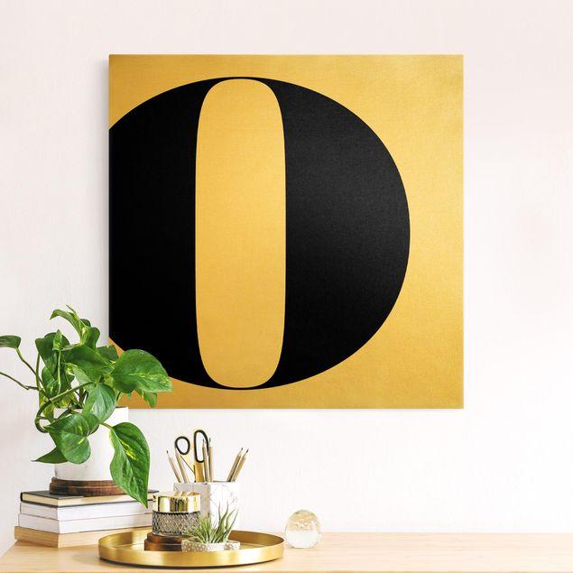 Leinwandbild Gold - Antiqua Letter O - Quadrat 1:1