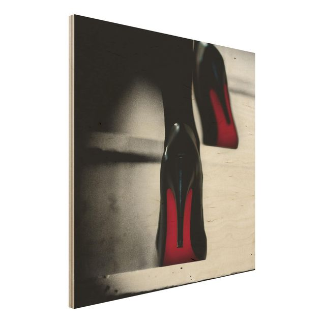 Holzbild - High Heels in Rot - Quadrat 1:1