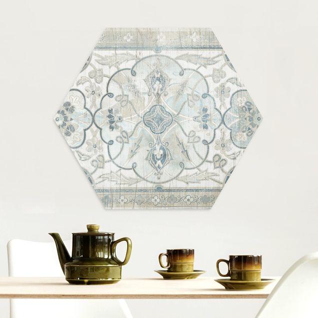 Hexagon Bild Alu-Dibond - Holzpaneel Persisch Vintage II