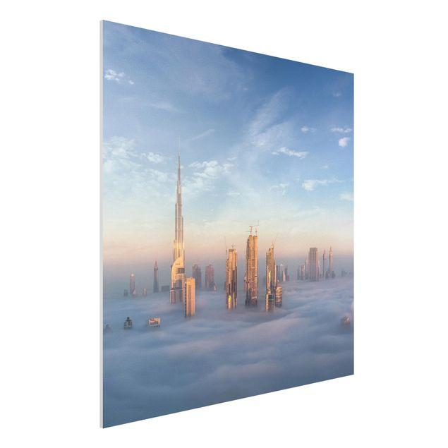 Forex Fine Art Print - Dubai über den Wolken - Quadrat 1:1