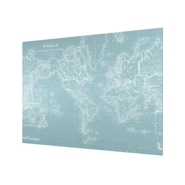 Glas Spritzschutz - Weltkarte in Eisblau - Querformat - 4:3