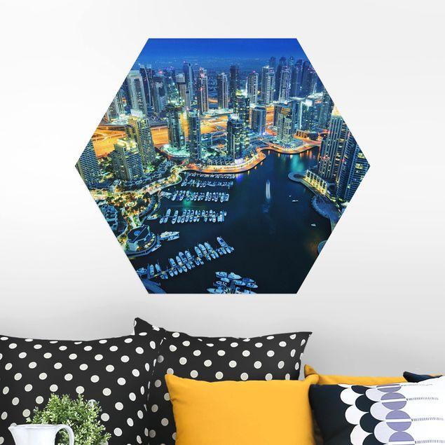 Hexagon Bild Alu-Dibond - Nächtliche Dubai Marina