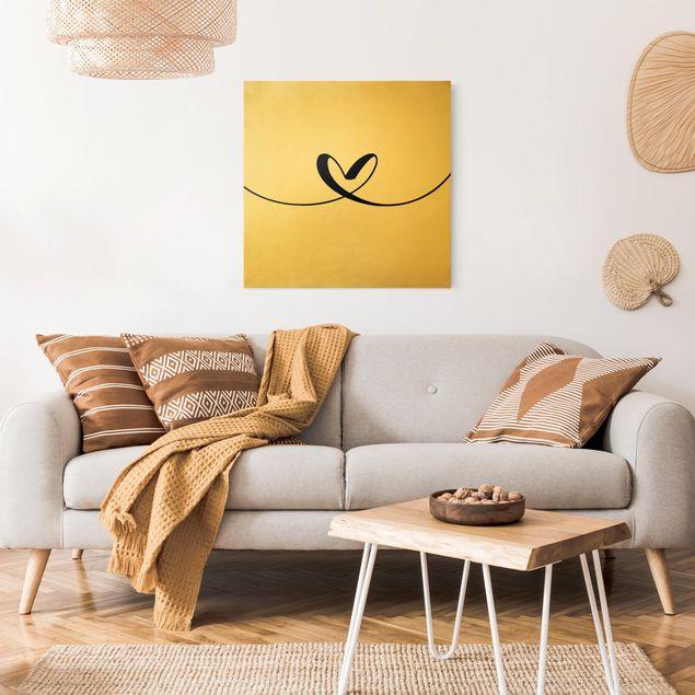 Leinwandbild Gold - Herzl - Quadrat 1:1