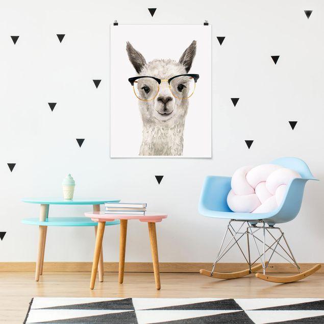 Poster - Hippes Lama mit Brille I - Hochformat 3:4