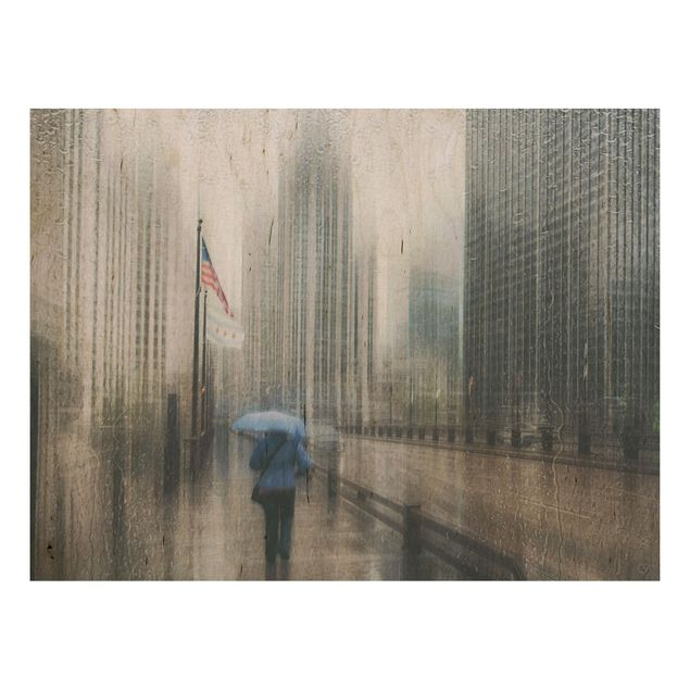 Holzbild - Verregnetes Chicago - Querformat 3:4