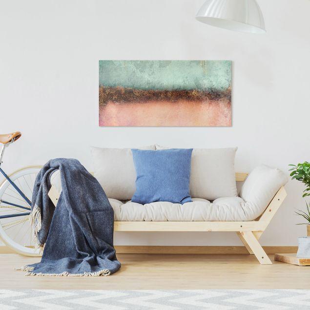 Leinwandbild - Elisabeth Fredriksson - Pastell Sommer mit Gold - Querformat 2:1