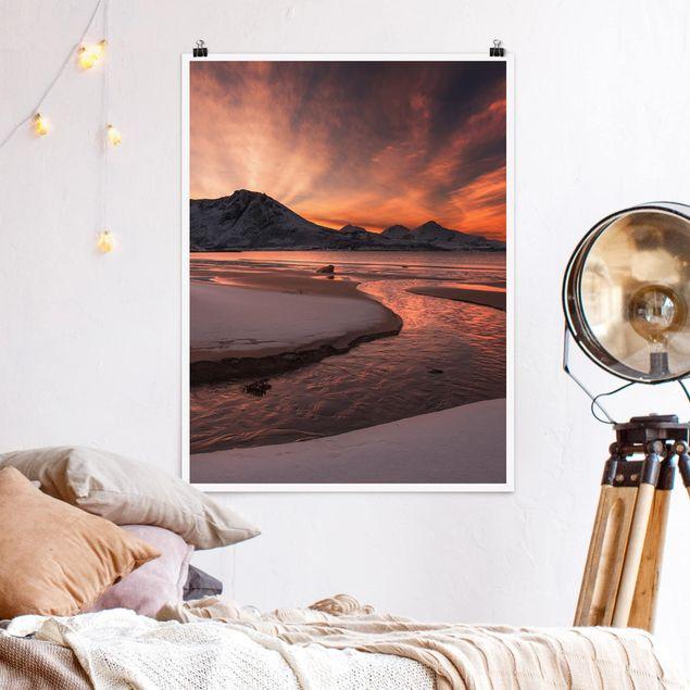 Poster - Goldener Sonnenuntergang - Hochformat 3:4