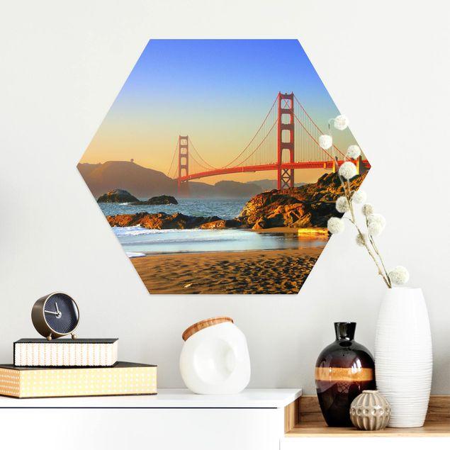 Hexagon Bild Alu-Dibond - Baker Beach