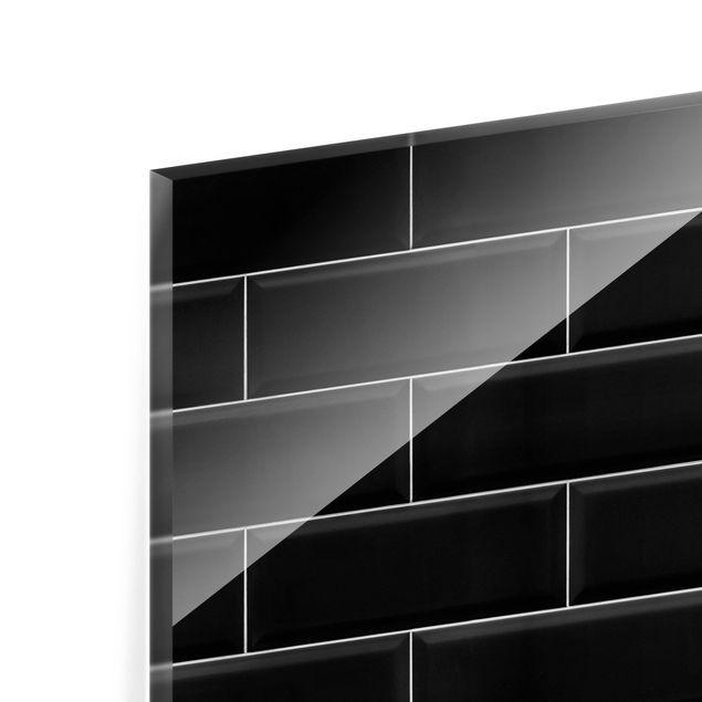 Glas Spritzschutz - Keramikfliesen Schwarz - Querformat - 4:3
