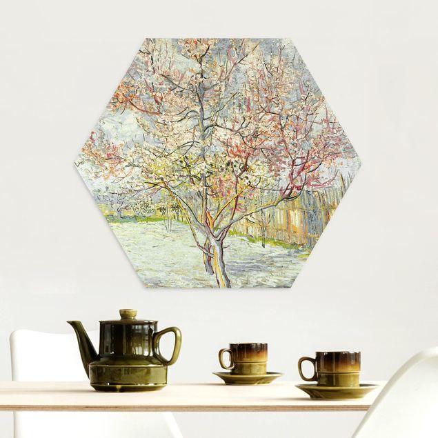 Hexagon Bild Alu-Dibond - Vincent van Gogh - Blühende Pfirsichbäume
