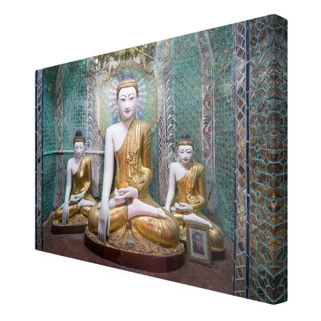 Leinwandbild - Buddha Statuen - Querformat 3:2