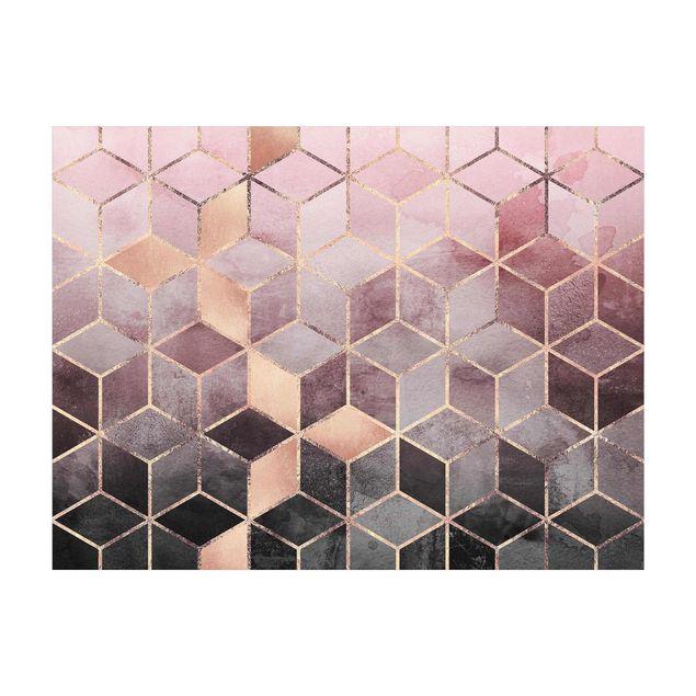 Vinyl-Teppich - Elisabeth Fredriksson - Rosa Grau goldene Geometrie - Querformat 4:3
