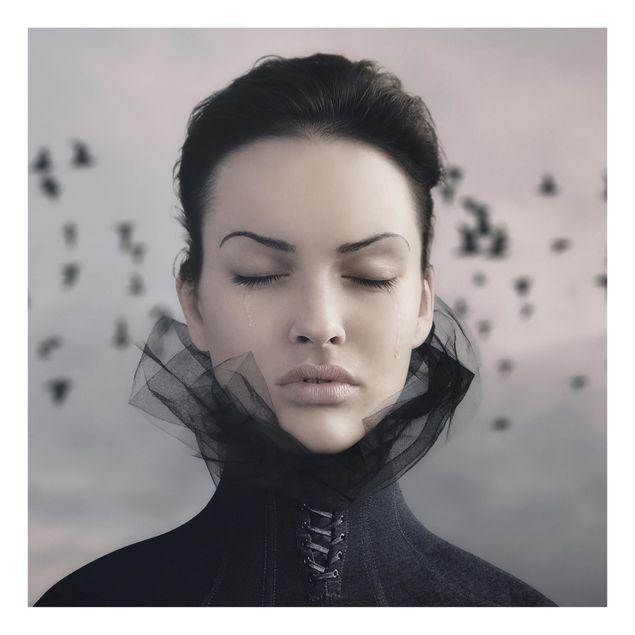Glas Spritzschutz - Porträt einer weinenden Frau - Quadrat - 1:1