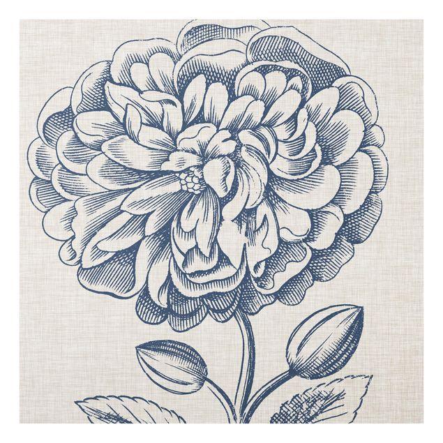 Glas Spritzschutz - Indigo Blüte auf Leinen III - Quadrat - 1:1
