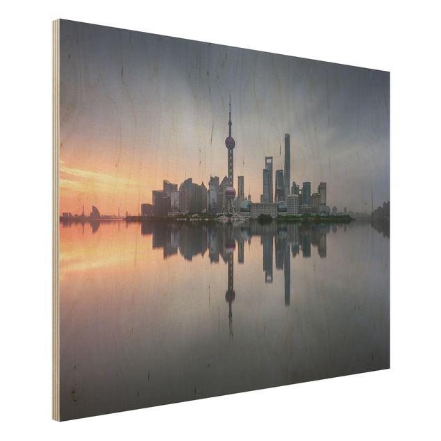 Holzbild - Shanghai Skyline Morgenstimmung - Querformat 3:4