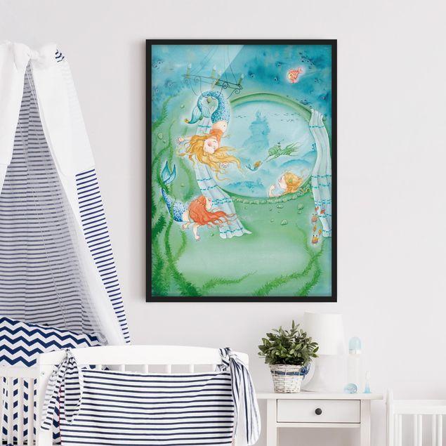 Bild mit Rahmen - Matilda die kleine Meerjungfrau - Matilda wird Akrobatin - Hochformat 3:4