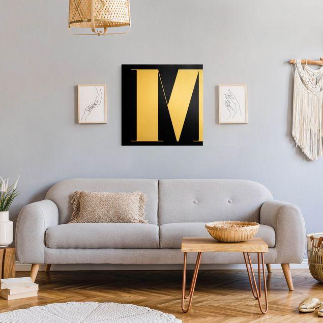 Leinwandbild Gold - Antiqua Letter M Schwarz - Quadrat 1:1