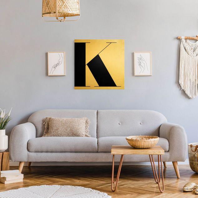 Leinwandbild Gold - Antiqua Letter K - Quadrat 1:1