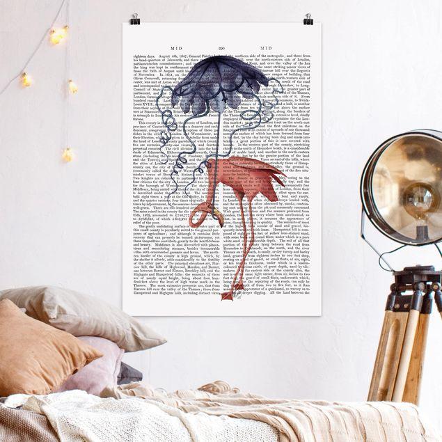 Poster - Tierlektüre - Flamingo mit Regenschirm - Hochformat 3:2