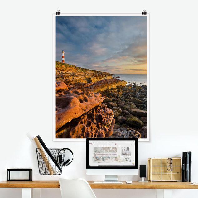 Poster - Tarbat Ness Meer & Leuchtturm bei Sonnenuntergang - Hochformat 3:4