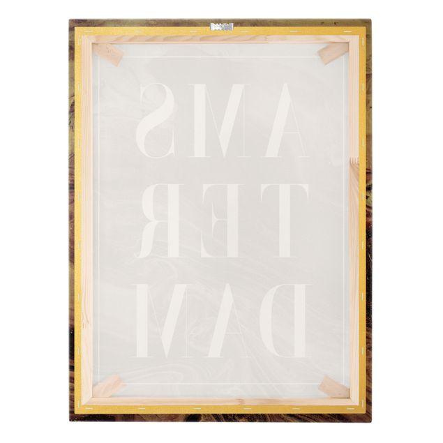 Leinwandbild Gold - Abstrakte Malerei - Amsterdam - Hochformat 3:4