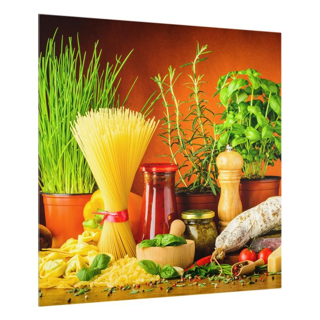 Glas Spritzschutz - Italienische Küche - Quadrat - 1:1