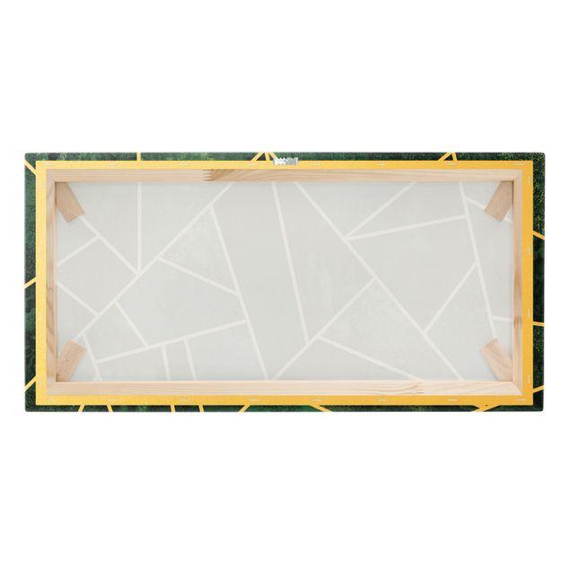 Leinwandbild Gold - Goldene Geometrie - Dunkles Türkis - Querformat 2:1