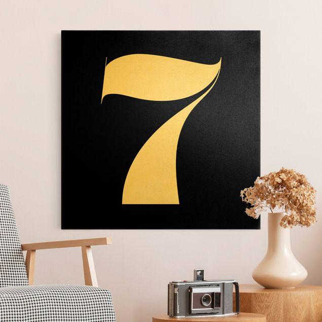 Leinwandbild Gold - Antiqua Zahl 7 - Quadrat 1:1