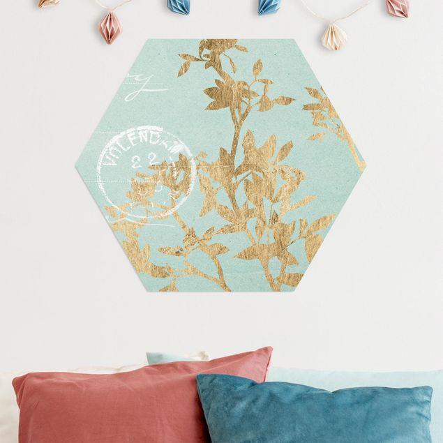 Hexagon Bild Alu-Dibond - Goldene Blätter auf Turquoise II