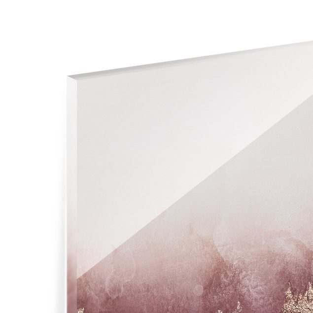 Glas Spritzschutz - Goldene Dämmerung Rosa - Quadrat - 1:1