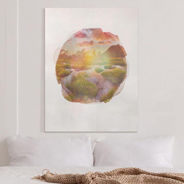 Leinwandbild - Wasserfarben - Tverrdalsbekken - Hochformat 4:3