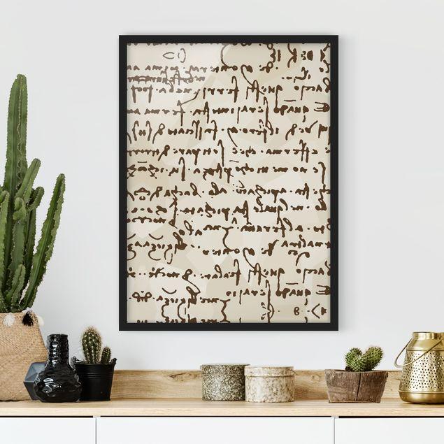 Bild mit Rahmen - Da Vinci Manuskript - Hochformat 3:4