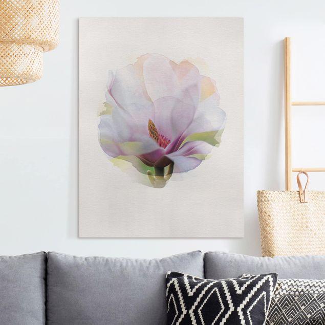 Leinwandbild - Wasserfarben - Zarte Magnolienblüte - Hochformat 4:3
