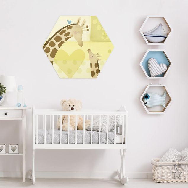 Hexagon Bild Alu-Dibond - Mama und ich - Giraffen