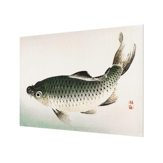 Glas Spritzschutz - Asiatische Vintage Zeichnung Karpfen - Querformat - 4:3