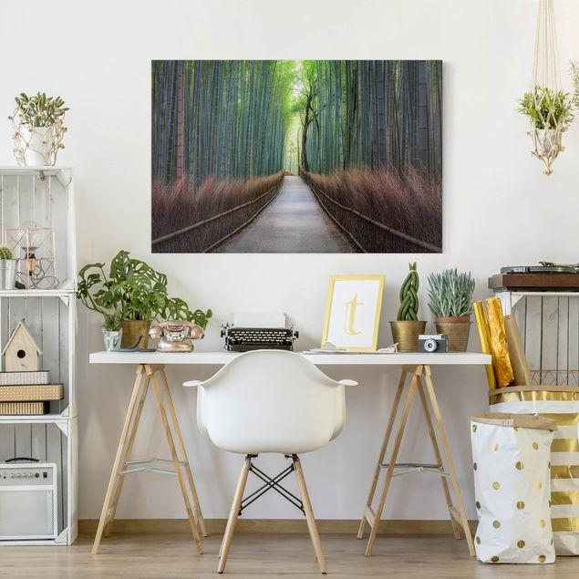 Leinwandbild - Der Weg durch den Bambus - Querformat 3:2