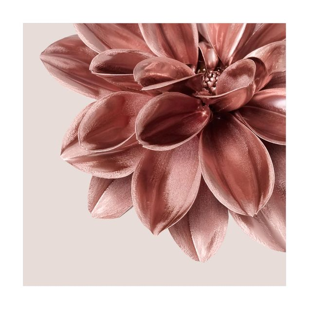 Vinyl-Teppich - Dahlie Blume Rosegold Metallic Detail - Quadrat 1:1